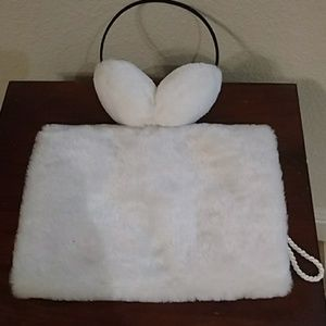 White fur Ear and hand muff set.